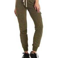 Olive French Terry Cargo Jogger Pants by Charlotte Russe