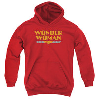 DC/WONDER WOMAN LOGO-YOUTH PULL-OVER HOODIE - RED -