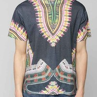 Sublimated Dashiki Print Tee- Grey