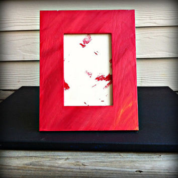 Hand Painted Simple Wooden Picture Frame, 4x6 Pink, Orange, Red, Turquoise, White Blends