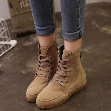 Flat Ankle Suede Lace-Up Boot