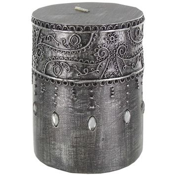 "3"" x 4"" Antique Silver Pillar Candle with Jewels 