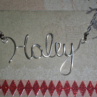 Bridesmaid collection  -  Qty 5 - Personalized name necklace  monogram necklace  initial necklace  custom necklace  wire necklace - Qty 1
