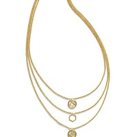 Tory Burch Perforated Charm Triple-strand Necklace