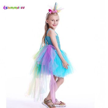 Pony Rainbow Dash Inspired Girls Tutu Dress with Tail Children Birthday Photo Prop Halloween Costume Kids Unicorn Tutu Dress