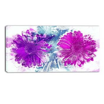 Pink and Purple Sunflower Beauty Canvas Wall Art Print Floral Print