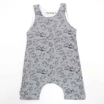 Comfortable baby rompers Summer dinosaur printed baby boys girls romper jumpsuit outfits Baby clothes costume D3-26B