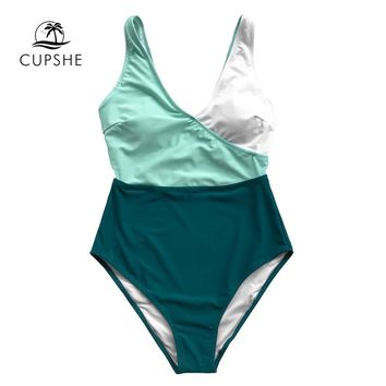 CUPSHE Green And White Patchwork V-neck One-piece Swimsuit Women Sexy Color Block Bodysuits Swimwear 2018 Beach Girl Monokinis