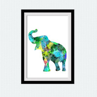 Elephant art poster Elephant watercolor print Blue animal print Safari animal poster Home decoration Kids room art Nursery room decor W581