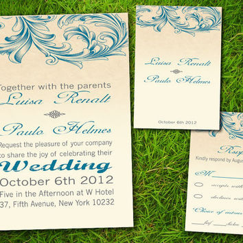 DIY Printable - Vintage Victorian Classic Formal Elegant Teal Customizable Wedding Invitation and RSVP Card Suite