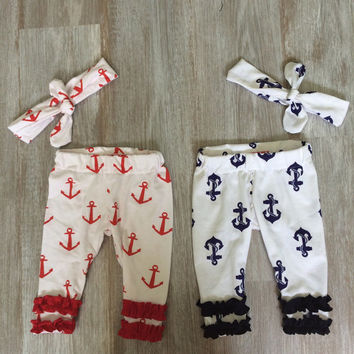 4th of July Newborn Girl Navy Anchor leggings w/ ruffles! Headband included! Take home outfit & pictures! summer! Nautical. Blue. boating