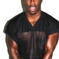 Athletic Mesh Crop Tee- Black