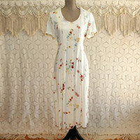 90s Vintage Womens Day Dress Boho Floral Grunge Button Up Romantic Lace Collar Short Sleeve Cream 1990s Vintage Clothing Womens Clothing