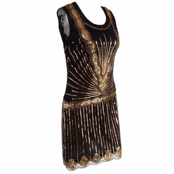 Bling Bling Retro Dress Women Vintage 1920s Inspired Shining Black Gold Beading Sequin Art Deco Flapper Dress Sleeveless Party