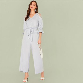 Blue Solid V Neck Contrast Lace Shoulder Belted Jumpsuit Women Flounce Sleeve Button Front Elegant Shirt Jumpsuits