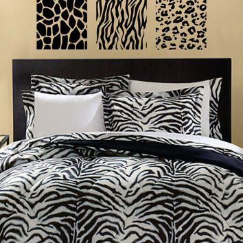 Animal Print 3 Box Panel Giraffe Zebra Leopard Design Animal Decal Sticker Wall Vinyl Decor Art