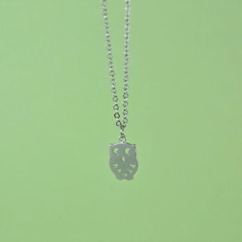 Cute Owl Necklace, Rhodium Plated Brass Pendant, Delicate Chain, Everyday Wear, Perfect Gift
