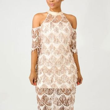 Apricot Fringe Sequin Midi Cocktail Party Dress