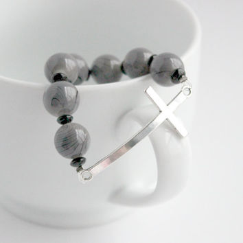 Black and Gray Beaded Sideways Cross Stretch Bracelet - Silver Handmade Jewelry - Christian Bracelet - Ready to Ship