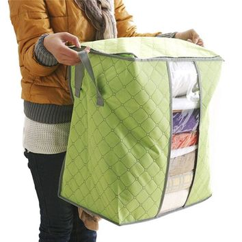 Portable Storage Box Organizer Bin for Sewing Fabric, Quilts, Blankets and Clothing