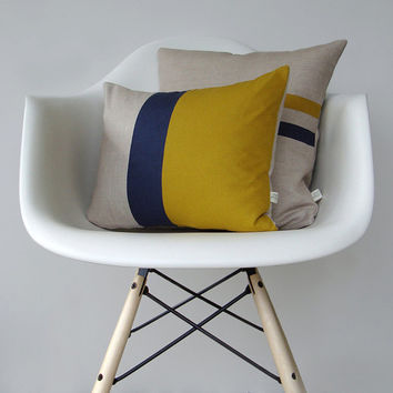 Mustard and Navy Color Block Pillow Set - (12x16) and (16x16) by JillianReneDecor - Modern Home Decor - Yellow and Navy Stripes
