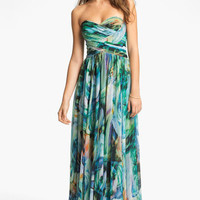 La Femme Ruched Print Chiffon Gown   Nordstrom