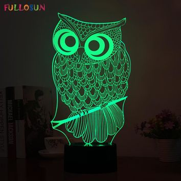 220V USB Power 3D Illusion Lamp LED  Night Owl Night Lamp LED Animal Shape Colorful Flashing Table Lamp as Room Decorations