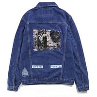 Trendsetter Off-White Fashion Print Distressed Denim Cardigan Jacket Coat