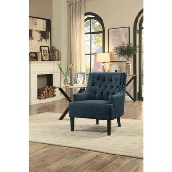 Fabric Upholstered Accent Chair With Tufted Back, Indigo Blue