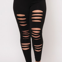Plus Size Distressed Leggings - Black