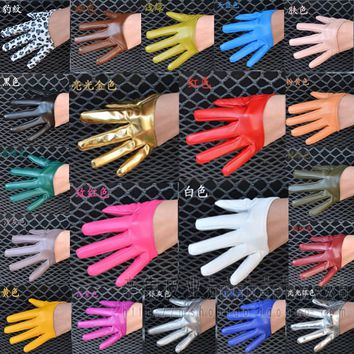 women's fashion half palm full finger PU leather gloves female ds hip-hop candy color performance gloves