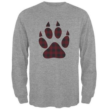 ICIKJY1 Autumn Buffalo Plaid Bear Claw Paw Mens Long Sleeve T Shirt
