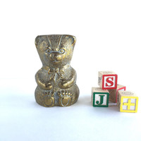 Vintage Brass Teddy Bear Piggy Bank, Vintage Brass Bear Bank Nursery Decor