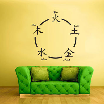 Wall Vinyl Sticker Decals Decor Art Bedroom Design Japan China Symbols Fire Water Earth Metal (z629)