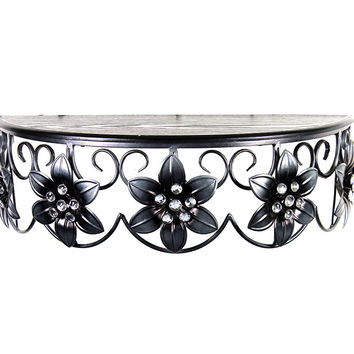 Customary Styled Metal Table With Flowers