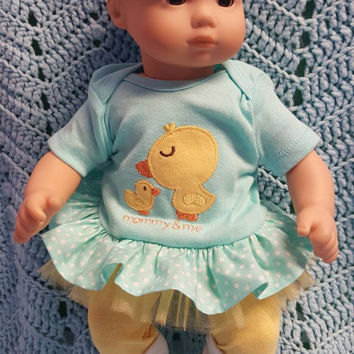 "Baby Doll Clothes to fit Bitty Baby ""Mommy and Me"" (15 inch) Will fit Bitty Baby® dress, leggings, socks and headband ducks"
