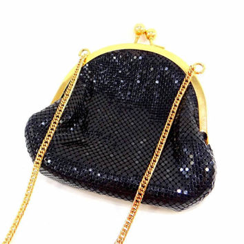 Whiting & Davis Black Metal Mesh Evening Bag with Gold Chain Strap