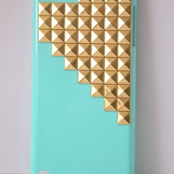Westlinke Punk Style Protective Case for Ipod Touch 5 Sky blue case Cover,,Ipod touch 5 Stud phone case with Gold/Silver/Bronze Pyramid Stud