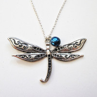 silver dragonfly necklace dragonfly jewelry by RobertaValle