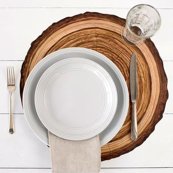"""Paper Die Cut Wood Slice Table Placemats in Brown - 15.25"""" Round - 12 per Pack"""