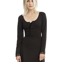 Black Lace-Up Back Long-Sleeve Dress