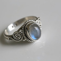 Labradorite 925 Sterling Silver Ring US5.5