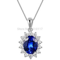 SHIP FROM USA Blue Zirconia 925 Sterling Silver Pendant 18' Free Gift Chain Trendy Jewelry For Women