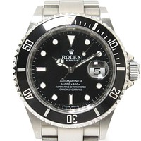 Auth ROLEX Submariner Date Watch 16610 Automatic black Stainless