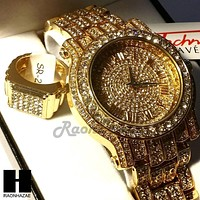 HIP HOP RAPPER GOLD FINISHED SIMULATED DIAMOND WATCH RING SET01G
