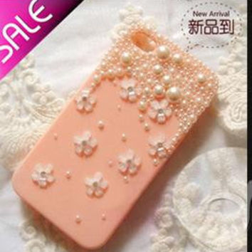 Little flower with pearls deco kit diy phone case diy deco kit iphone case kit iphone case deco kit iphone 5 iphone 4 case sumsung case