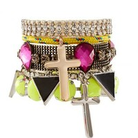 Bracelet Set with Cross and Rhinestone