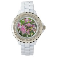 Butterfly and Pink Flowers - Watches