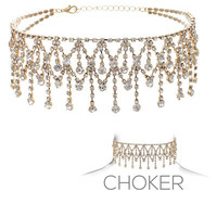 "11.50"" crystal chandelier drape choker collar bib necklace bridal prom"