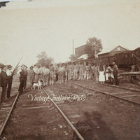 Old Photograph Convicts in Striped Prison Garb on RR Railroad Tracks with Armed Guards & Dogs , Vintage Photography 1880's